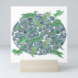 Ernst Haeckel Green Hue Nudibranch Over Cerulean Sea Squirts Mini Art Print