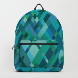 Blue Green Harlequin Pattern Backpack