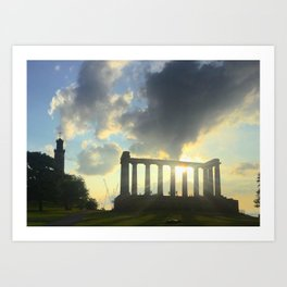 National Monument of Scotland Blue Sky Sunny Day Art Print