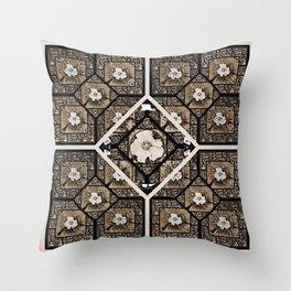 Cherokee Rose Pattern 2 white pink Throw Pillow