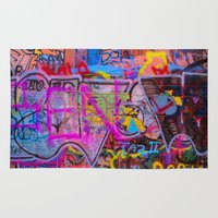 grafitti Area & Throw Rugs featuring Bright Grafitti by davehare
