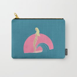"""Hang Ten"" Surfer Girl on Longboard Carry-All Pouch"