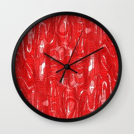 Subtle interweaving of sparkling smudges from red lava and light chaotic cycle. Wall Clock