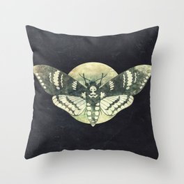 Moth And Moon Throw Pillow
