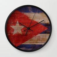 cuba Wall Clocks featuring Cuba  by Jordygraph