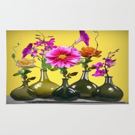 Garden Flowers Bottle Arrangement Still Life Rug