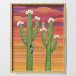 gila woodpeckers on saguaro cactus Serving Tray