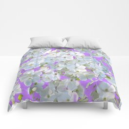 DELICATE LILAC & WHITE LACE FLORAL GARDEN PATTERNS Comforters