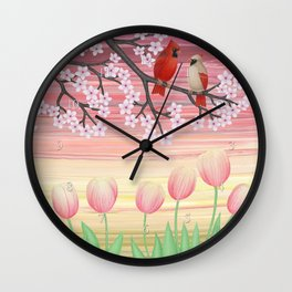 cardinals & tulips in spring Wall Clock