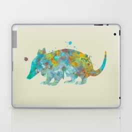 Armadillo Watercolor Painting Turquoise Aqua Mint Yellow Orange Laptop & iPad Skin
