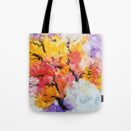 Abstraction on a tree Tote Bag