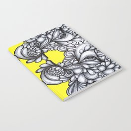 Drips on Yellow. Black and white pen illustration. Notebook