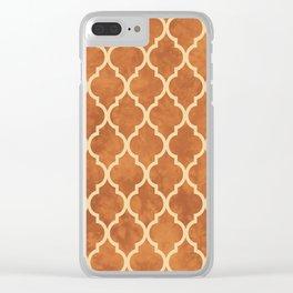 Classic Quatrefoil Lattice Pattern 912 Beige and Ochre Clear iPhone Case
