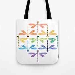 Rainbow Damselflies Tote Bag