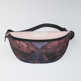 Road Red Moonrise Fanny Pack
