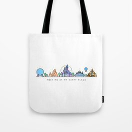 Meet me at my Happy Place Theme Park Skyline Tote Bag