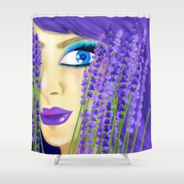 Spring Lavender Girl Shower Curtain