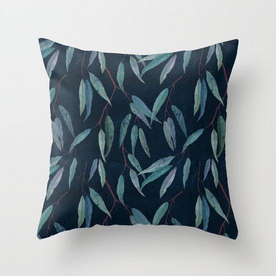Eucalyptus leaves on indigo blue Throw Pillow by Lavish Season Society6