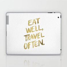 Eat Well Travel Often on Gold Laptop & iPad Skin