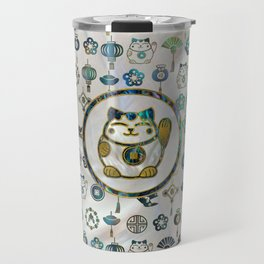 Maneki Neko Lucky cat on  pearl and abalone Travel Mug