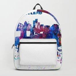 Portland Oregon Skyline Silhouette Impressionistic Blast Backpack