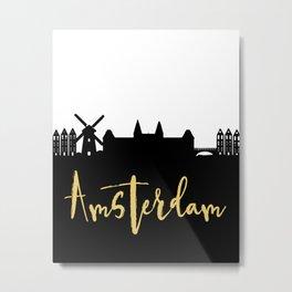 AMSTERDAM NETHERLANDS DESIGNER SILHOUETTE SKYLINE ART Metal Print