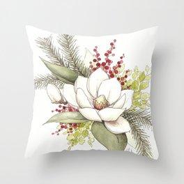 Christmas Magnolia Watercolor Throw Pillow