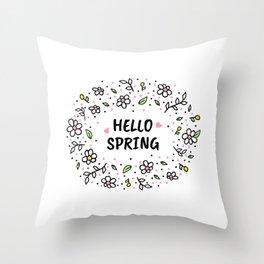 Hello Spring illustration Throw Pillow