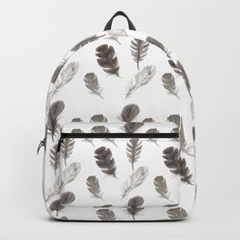 Black and white feathers Backpack