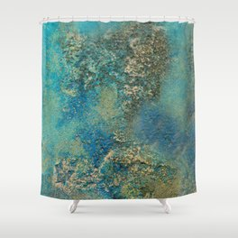 Blue And Gold Modern Abstract Art Painting Shower Curtain