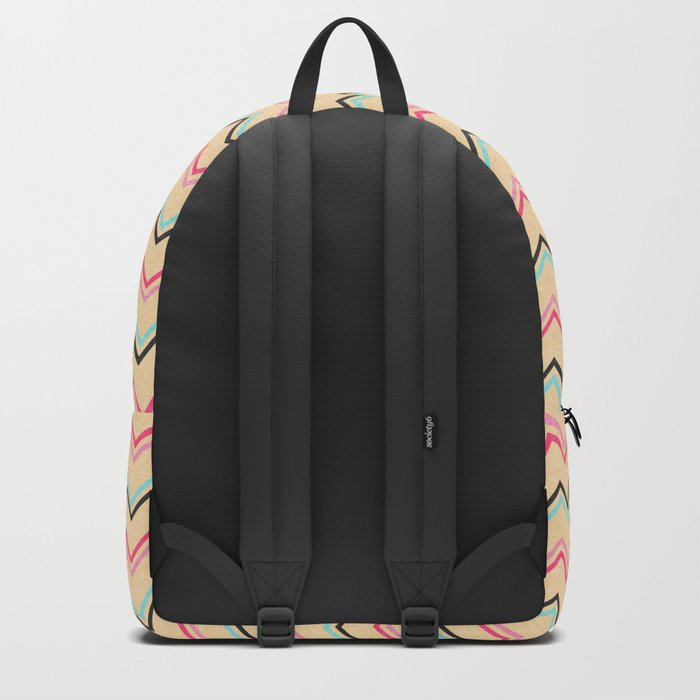 Pink And Blue Chevron Geometric Pattern Backpack