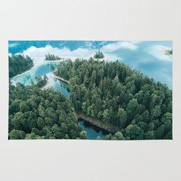Mountain in a Lake - Landscape Photography Rug