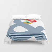 ampersand Duvet Covers featuring Ampersand by Little Light Prints