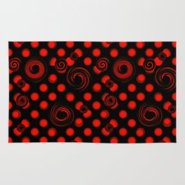 Pattern of red convex balls. Abstract pattern of red spiral circles on a black background. Rug