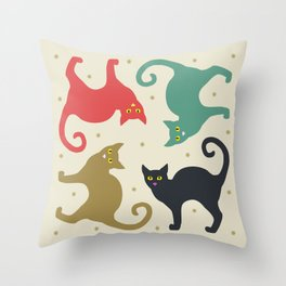 Cats and Cream Throw Pillow
