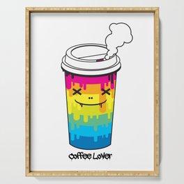 Coffee Lover rainbow illustration original pop art print Serving Tray