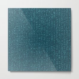 Hieroglyphics Moonstone BLUE / Ancient Egyptian hieroglyphics pattern Metal Print