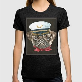 6b761def192 Pug Captain Hat Red Scarf Dogs In Clothes T-shirt