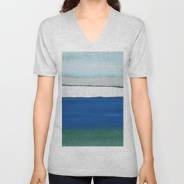 Dover, England, Abstract in Pastel Blue, Grey, Green.  Digital Art Unisex V-Neck