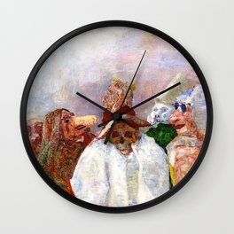 Masks Mocking Death portrait painting by James Ensor Wall Clock