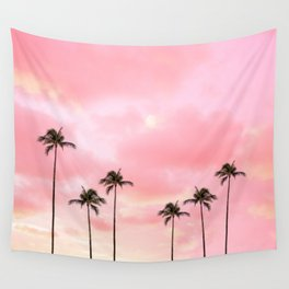 Palm Trees Photography | Hot Pink Sunset Wall Tapestry