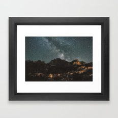 Space Night Mountains - Landscape Photography Framed Art Print