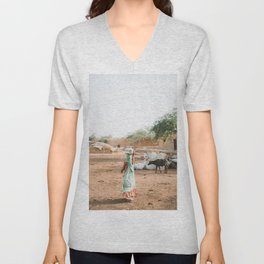 Woman Carrying Water in Village in Rajasthan, India | Travel Photography Unisex V-Neck