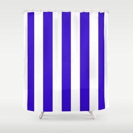 Interdimensional blue - solid color - white vertical lines pattern Shower Curtain