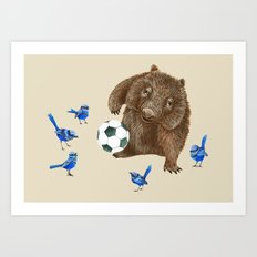 Blue wrens Wombat Football Art Print