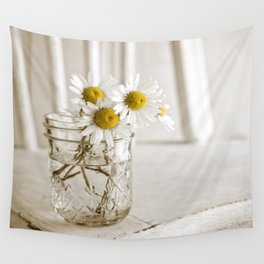 Simple White Daisy Flowers Wall Tapestry