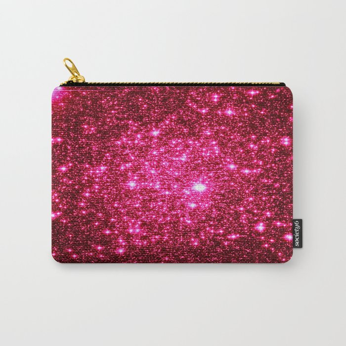 Hot Pink Glitter Galaxy Stars Carry-All Pouch