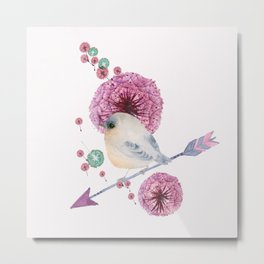 Cute Bird and Dandelion Metal Print