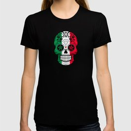 Sugar Skull with Roses and Flag of Italy T-shirt