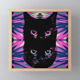 Black Cat Rising Framed Mini Art Print